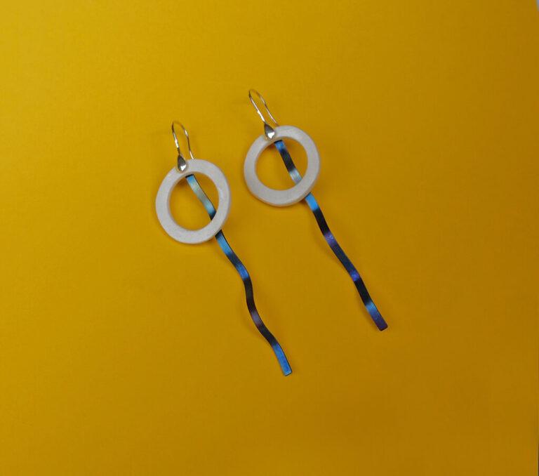 Colección Piezas Únicas Pendientes Flow Titanio